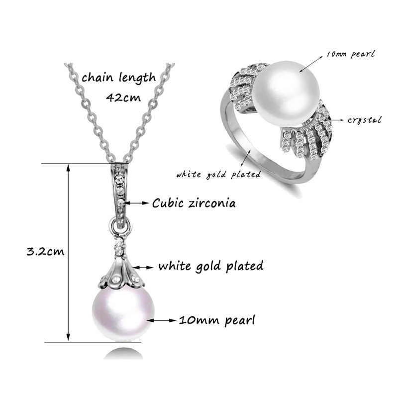 LEEKER 2020 Heißer Verkauf Vintage Imitation Perle Hochzeit Schmuck-Set Silber Farbe Halskette Ohrring Ring Set Für Frauen Geschenke 252 LK1