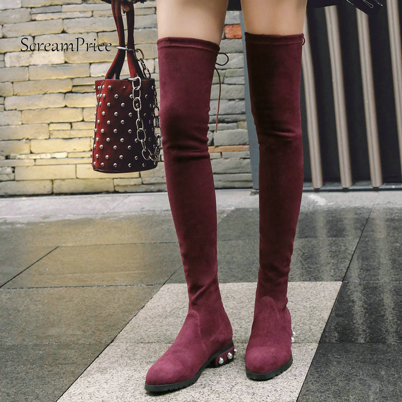 Women Comfort Flat With Woman Suede Over The Knee Stretch Boots Fashion Lace Up Dress Thigh Boots Woman Black Wine Red