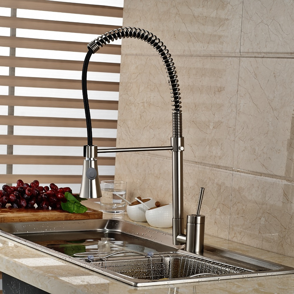 ФОТО Single Handle Brushed Nickle Kitchen Faucet Pull Down Sprayer Deck Mounted