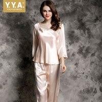 100% шелковые пижамы для женщин Летняя Весенняя Пижама роскошная одежда для сна красный домашний костюм вышивка женские топы и блузки из двух