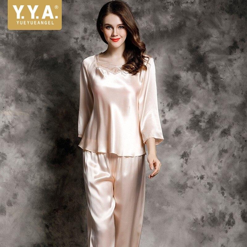 100% pyjamas en soie pour femmes été printemps vêtements de nuit de luxe vêtements de nuit rouge maison costume broderie femmes hauts et chemisiers deux pièces