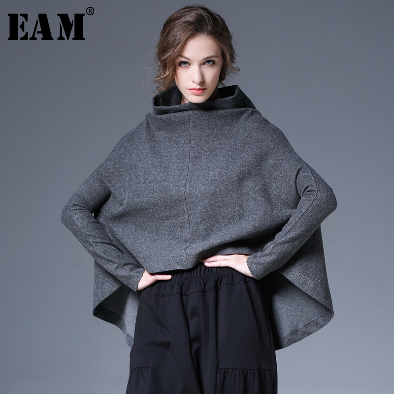 EAM 2019Spring Summer Woman Black Gray Color Long Batwing Sleeve Irregular Length Round Sleeve Loose