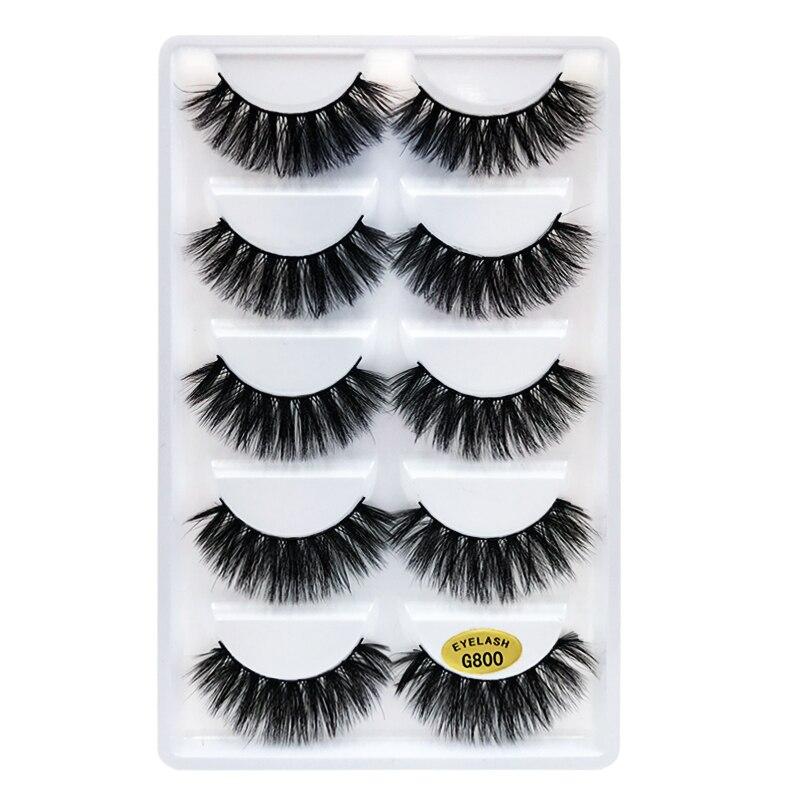 5 Pairs/set Artificial Mink EyeLashes 3D Natural Cross Dense False Eyelash Reusable Wispy Fake Lashes For Woman Make Up