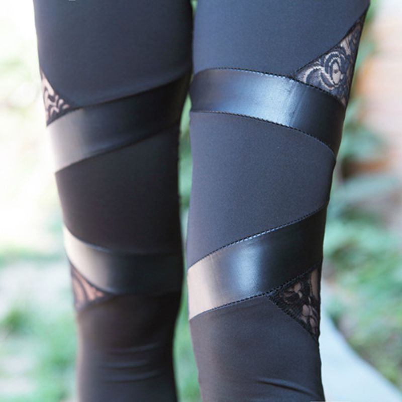 Fashion Women Leggings with Lace Mixed Leather Design Workout Polyester Leggings Breathable Slim Leggings Female
