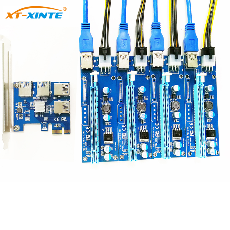 Add in Card PCIe 1 to 4 PCI Express 16X slots Riser Card PCI-E 1X to External 4 PCI-e slot Adapter Port Multiplier Minning Card mini pci e to pci riser card industrial control motherboard mpcie to pci slot expansion cards external acquisition card adapter