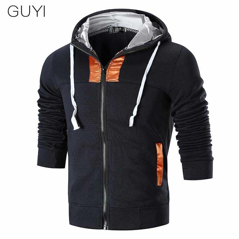 GUYI 4 цвета Лоскутные панельные куртки для мужчин с длинным рукавом и капюшоном на молнии тонкая верхняя одежда и пальто Модные Спортивные Повседневные Пальто