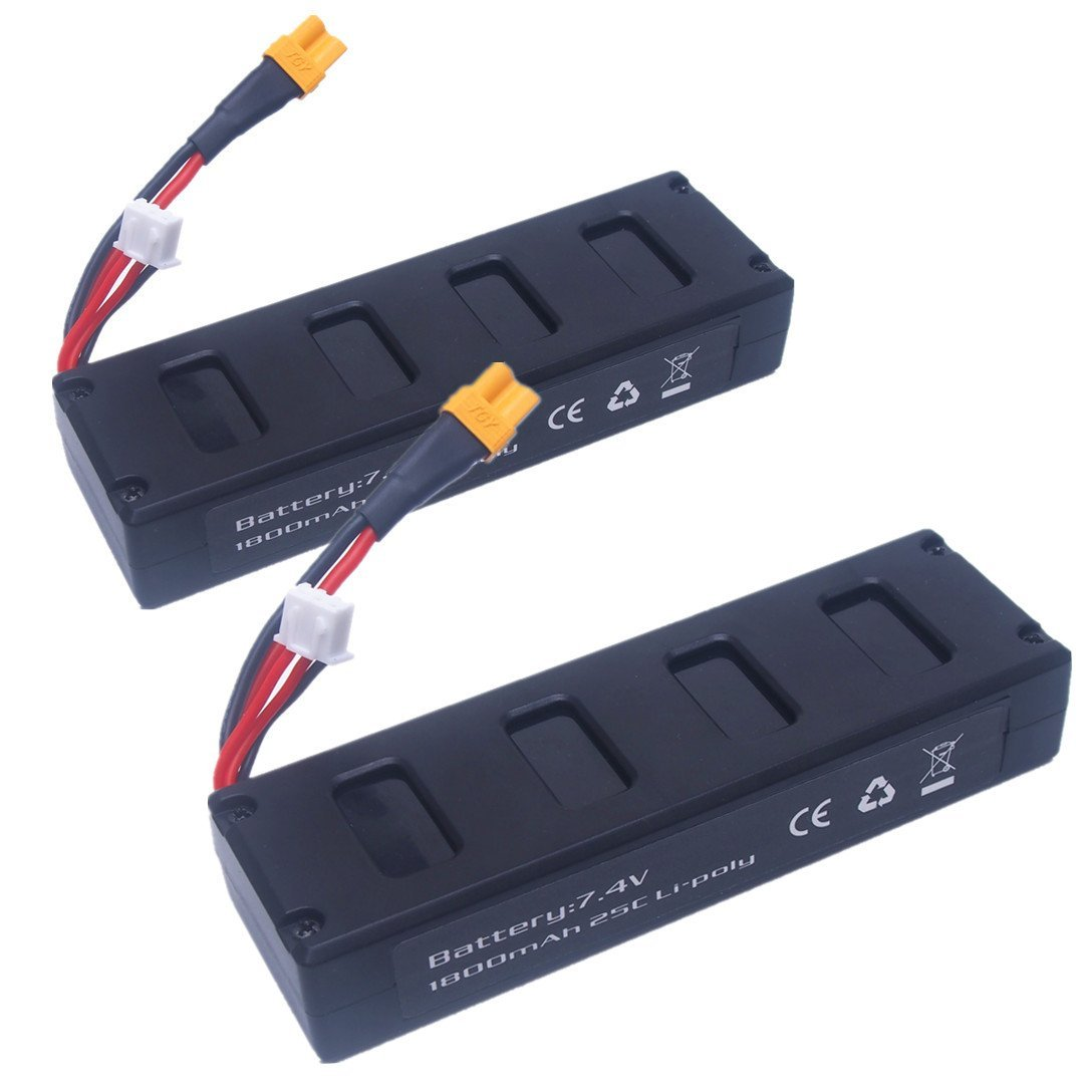EBOYU(TM) 2pcs 7.4v 1800mah 25C Li-poly Batteries for MJX B3 Bugs 3 RC Drone Spare Parts