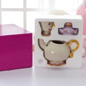 플래시 판매 아름다움과 야수 차 세트 세라믹 주전자 차 컵 트레이 만화 부인 potts 칩 차 주전자 컵 사랑스러운 생일 선물