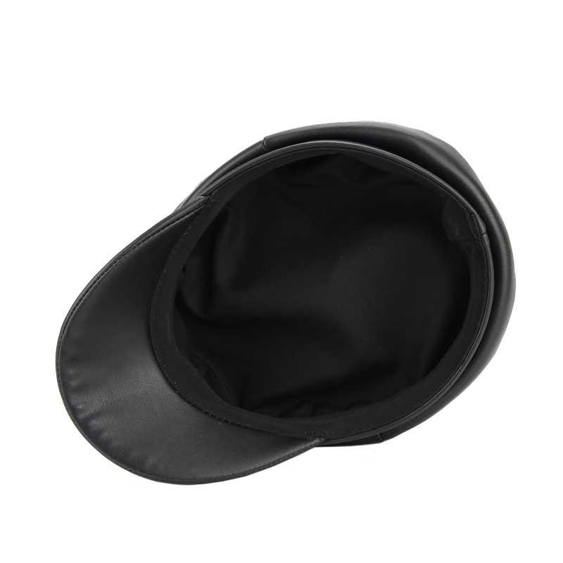 Compre Elegantes Sombreros De Mujer Boinas De Cuero De Imitación ... 86ce2c364b5d