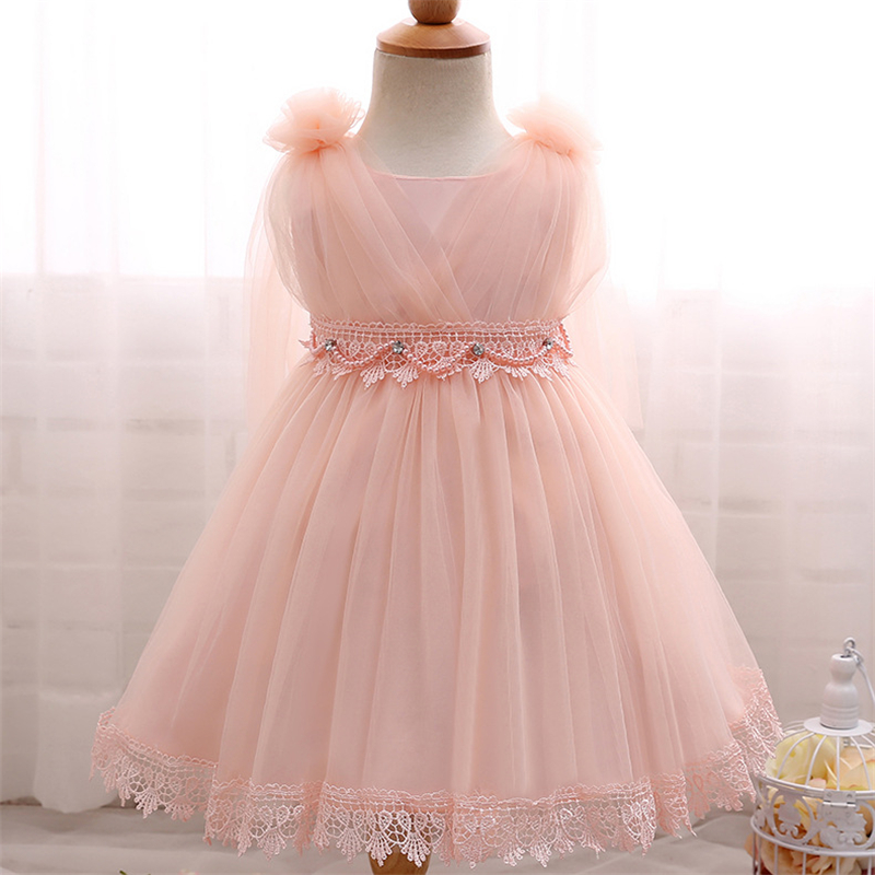 Newborn Girls Wedding Dress Princess Party Pageant Formal Dress Bow