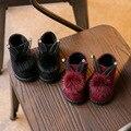 Зимние девочки сапоги Детские Кожаные Ботинки Снега качество зимняя обувь, зимний холод-доказательство дети дети Маленький Кролик плюшевые Обувь