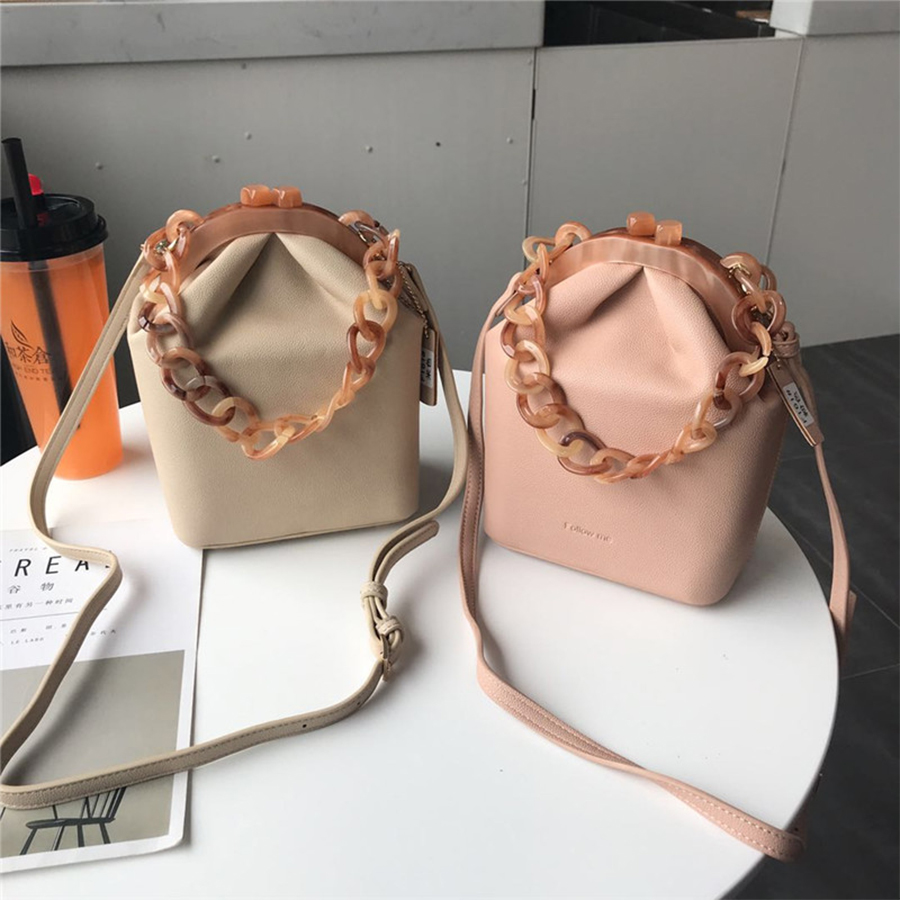 Luxury Acrylic Bucket Bag Clip Women Handbag Chain Shoulder Messenger Bags Ice Cream Colo Box Bags Party Clutch Bolso femenino handbag