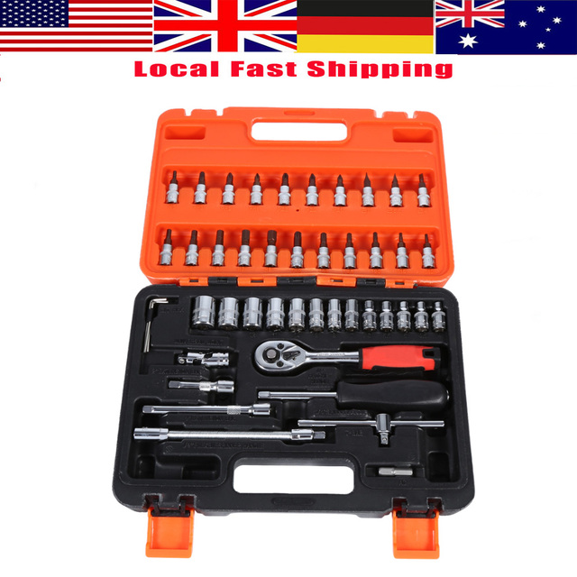 "46pcs/Set Socket Spanner Set 1/4"" Drive Metric Extension Bar with Box Car Repair Tool Ratchet Torque Wrench Automobile Tools Kit"