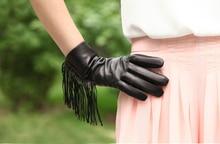 women fashion single side tassel style top Italy leather black winter warm gloves