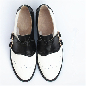 Image 5 - In pelle di mucca grande donna formato DEGLI STATI UNITI 9 del progettista dellannata scarpe basse punta rotonda handmade nero bianco oxford scarpe per le donne 2020 primavera