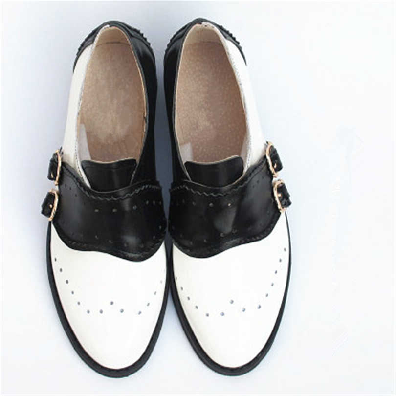 Koe lederen grote vrouw US size 9 designer vintage platte schoenen ronde neus handgemaakte zwart wit oxford schoenen voor vrouwen bont