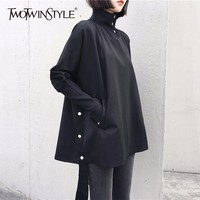 TWOTWINSTYLE Turtleneck Pullover Female Batwing Sleeve Patchwork Ribbons Pocket Black Tops For Women Spring Casual Tide Clothing