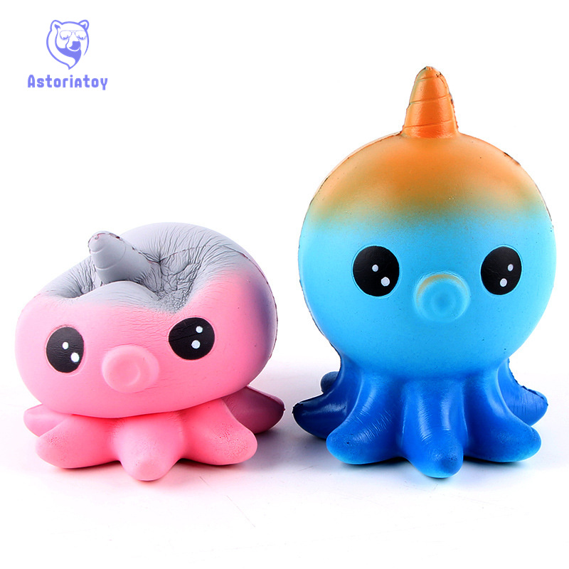 New Kawaii Jumbo Jellyfish Octopus Cuttlefish Squishy Slow Rising Anti Stress Soft Squeeze Cake Bread Straps Kid Fun Toy Gift