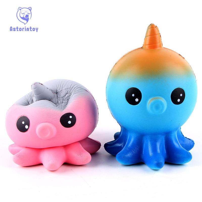 New Kawaii Jumbo Jellyfish Octopus Cuttlefish Squishy Slow Rising Anti Stress Soft Squeeze Cake Bread Straps Kid Fun Toy Gift