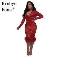 Binbye Fans Zurück Reißverschluss Elegante Club Party Kleider Langarm Sexy Pailletten Kleid Tiefe V-ausschnitt, Figurbetontes Kleid CH320