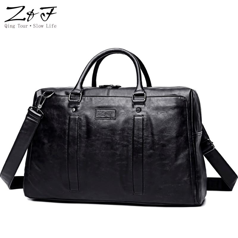 ZEROFRONT 2018 New Men Travel Duffle Bag PU Leather Multifunction Mens Black Shoulder Handbag Messenger Bag 15inch laptop bag