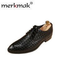Merkmak New Luxury Brand Dress Men Shoes Autumn Winter Business Formal Oxfords Footwear Comfortable Classic Men Leather Flats