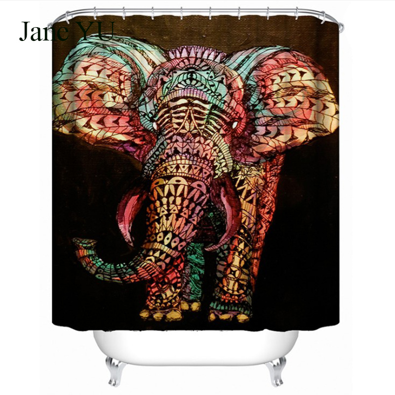 JaneYUCreative oil painting, elephant 3D digital printing, thickened waterproof, moldy resistant bath curtains wholesale
