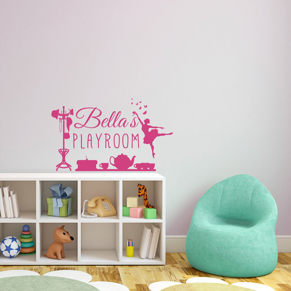 Home & Garden Wall Stickers Custom Personalized Playroom Sign For A Girl Wall Decal Home Decoration Bedroom Door Stickers Dancer Ballet Mural Decals D514 Fashionable And Attractive Packages