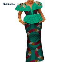 African Applique Top and Skirts Sets for Women Bazin Riche Traditional African Women Clothing 2 Pieces Skirts Sets WY4233