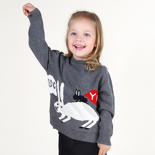 2017 дети девушки свитер моды вязаный кардиган свитер детей мультфильм кролик девушки мило свитер пальто