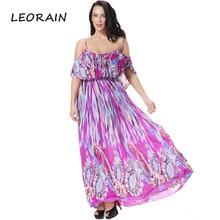 M 6xl Plus Size Women Clothing 2017 Summer New Silk Printing Slash Neck Bohemian Beach Maxi