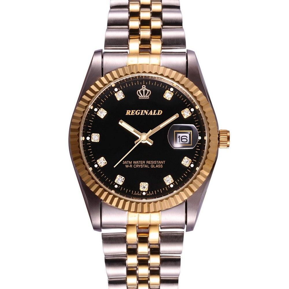 Prix pour 2015 Marque De Luxe Montre-Bracelet D'or Bleu Quartz Montre pour Hommes Robe Partie 50 m Résistant À L'eau