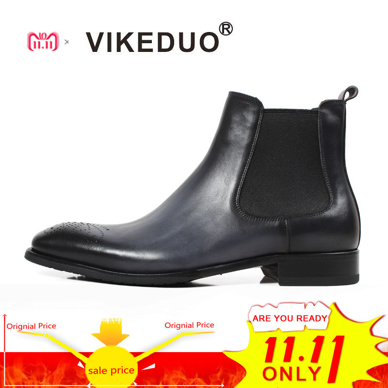 Vikeduo 2018 New Mens Chelsea Boots Patchwork Hollow Out Shoes Men Genuine Leather Bota Masculina Solid Vintage Male Shoe Botine vintage hollow out solid color blouse