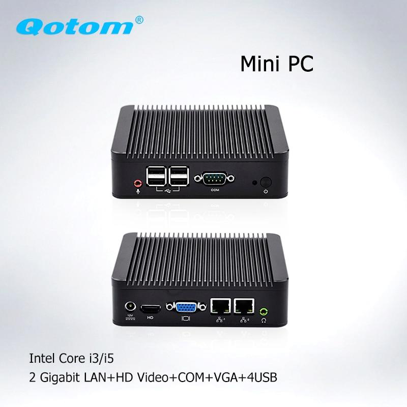 Qotom Mini PC  I3 Barebone Linux Ubuntu Mini Desktop PC,dual Lan X86 Mini Server Dual Display Industrial Mini Computer
