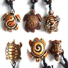 12 шт. этнический Племенной искусственный Як кости резьба Гавайская Морская Черепаха Серфер кулон ожерелье