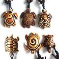 Wholesale 12pcs Ethnic Tribal Faux Yak Bone Carving Hawaiian Sea Turtle Surfer Pendant Necklace