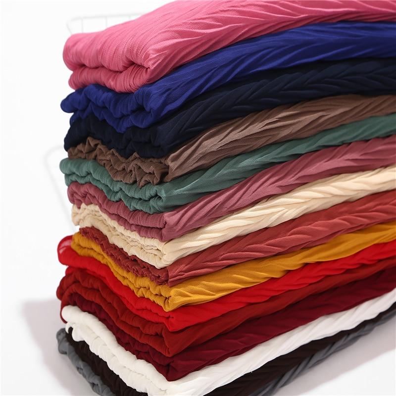 New Leaf Pleated Women Wrinkle bubble chiffon Hijab   scarf   shawls crinkle muslim Turban   wraps   pleat shawls long   wrap     scarves