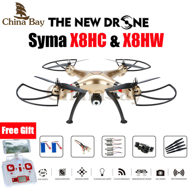 Syma x8hw y x8hc fpv rc quadcopter 6-axis drone profesional mantenimiento de Altitud Modo Sin Cabeza Con 2MP O WiFi Cámara RC helicóptero