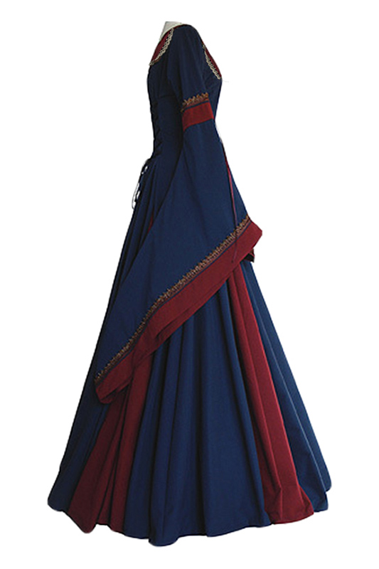 Medieval Costume For Adult Women Long Gown Dress Victorian Bell Sleeve  Square Collar Back Lacing Wedding Clothes For Ladies -in Holidays Costumes  from ... 0adb77c18728