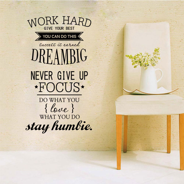 4055 WORK HARD Free Shipping motivation wall decals office room ...