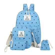 2017 холст рюкзак женщины точка школьная сумка для подростков девочек элегантный дизайн композитный сумки 5 шт./компл. путешествия женские рюкзаки