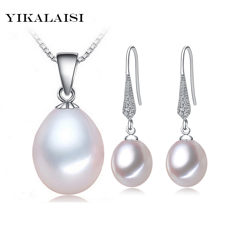 YIKALAISI 925 Sterling Silver Chain Naturliga sötvattenspärlhänge Drop Earrings Fashion Set smycken för kvinnor 8-9-10mm Pearl