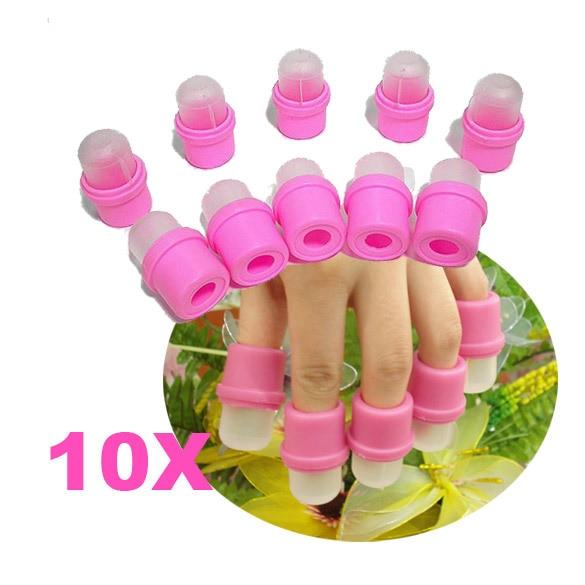 Мода 10 шт. переносной ногтей Замочите Soaker для снятия лака DIY Дизайн ногтей инструмент акриловые УФ-гель для снятия лака Soaker клип проливной дождь шапки