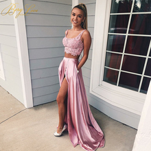 Sexy Pink Two Piece Evening Dress 2019 Slit Backless Lace Satin Prom Party Gown Abiye robe femme long dresses evening robe de