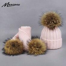 Boy Girl Pom Pom Beanie Warm Knitted Bobble Fur Pompom Hat and Scarf Set Children Real Raccoon Fur Pompon Winter Hat Skullies