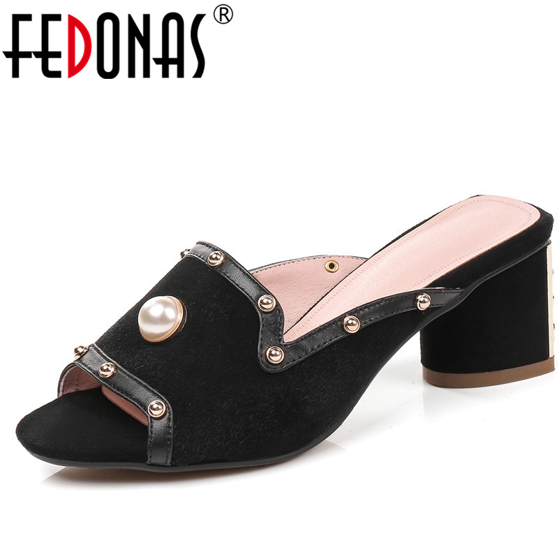 FEDONAS 2018 Brand New Genuine Leather Women Shoes Woman Sandals Beading Wedding Party Shoes Comfort Female Sandals Slippers fedonas women sandals soft genuine leather summer shoes woman platforms wedges heels comfort casual sandals female shoes