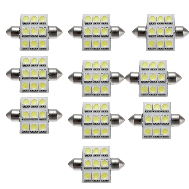 kongyide Healight Bulbs 10PCS 36mm 9 LED SMD Festoon lamp Car Bulbs White 3021 3022 DE3175 NOV10