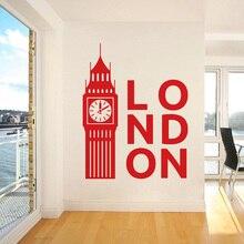 32cfd9c46 بيغ بن الفينيل الجدار ملصق لتزيين المنزل المعيشة غرفة المملكة المتحدة لندن  ساعة صائق غرفة نوم الديكور ملصق فني W345