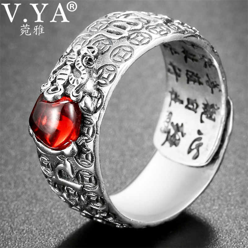 V.YA Natural Red Garnet Stone Rings for Men Women 925 Sterling Silver Jewelry Chinese Pixiu Finger Ring Best Christmas Gift