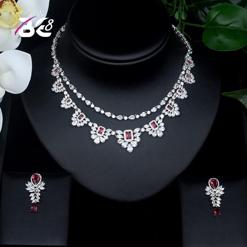 Be 8 couleur blanc brillant zircon cubique collier de mariée ensemble de bijoux pour les femmes robe de mariée accessoires ensemble de bijoux S430